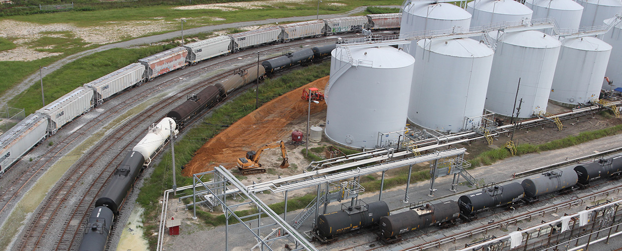 Oil Tank Farm and rail cars