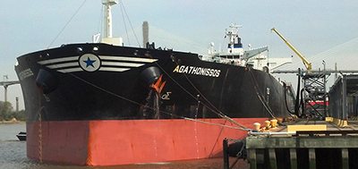 Tanker at berth 20 - bow of shipcrop