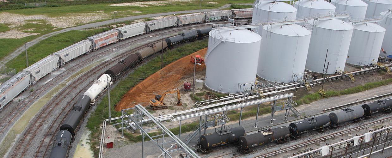 Oil Tank Farm and rail cars